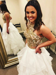 Gorgeous Two Piece White Halter Tulle Sleeveless Prom Dress with Appliques