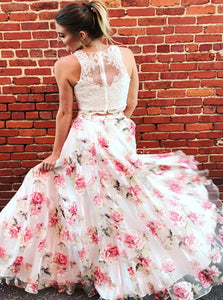 Two Piece A Line Organza Scoop Sleeveless Ivory Prom Dresses