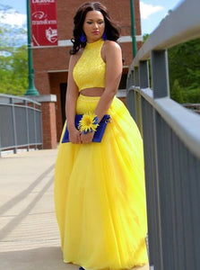 A Line Jewel Floor Length Open Back Yellow Tulle Prom Dress with Beading