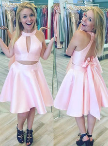 Two Piece Jewel Open Back Pearl Pink Satin Bowknot Homecoming Dresses