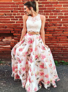 Two Piece A Line Organza Scoop Ivory Sweep Train Prom Dresses