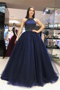 Ball Gown Navy Blue Beading Tulle Prom Dresses LBQ0051