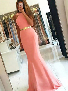 Sexy Mermaid Jewel  Pink Satin Prom Dresses with Sweep Train