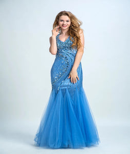 Mermaid V Neck Open Back Tulle With Beadings Floor Length Prom Dresses