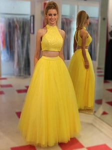 Jewel Floor Length Open Back Yellow Prom Dresses with Beading