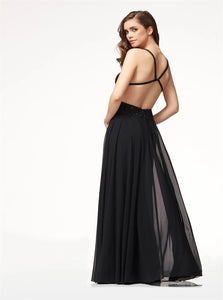 A Line Spaghetti Straps Criss Cross Open Back Chiffon with Embroidery Prom Dresses