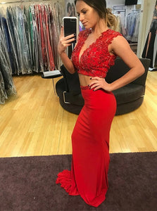 Two Piece Sexy Mermaid Red Satin Deep V-Neck Open Back Short Top Prom Dress with Beading