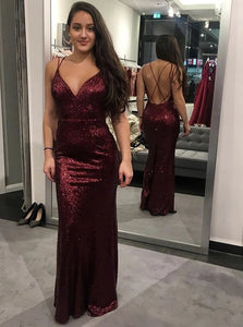 Sexy Red Sheath V Neck Criss Cross Sequined Sweep Train Prom Dress