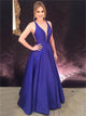 A Line V Neck Satin Purple Criss Cross Prom Dresses