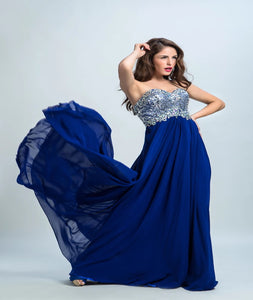 A Line Sweetheart Chiffon Sweep Train Prom Dresses With Beadings