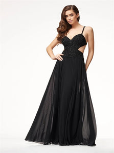 A Line Spaghetti Straps Open Back Chiffon with Embroidery Prom Dresses