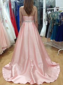 A Line Sweep Train Pink Pleated Prom Dresses with Beadings