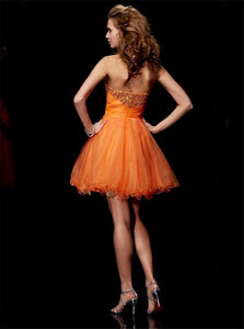 Orange A Line Beadings Strapless Mini Organza Homecoming Dresses