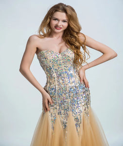 Mermaid  Sweetheart Tulle Sleeveless Prom Dresses With Beadings