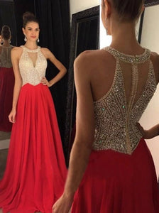 Red A Line Floor Length Evening Dresses with Beadings