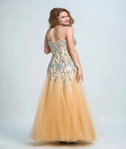 Mermaid  Sweetheart Tulle Orange Prom Dresses With Beadings