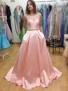 Sweetheart Sweep Train Pink Pleated Prom Dresses with Beadings