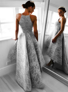 Asymmetrical Spaghetti Straps Gray Organza Prom Dresses with Lace