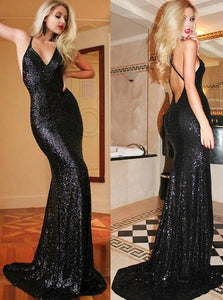 Black Mermaid V Neck Criss Cross Straps Sequined Prom Dresses with Sweep Train