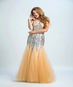 Mermaid  Sweetheart Tulle Prom Dresses With Beadings