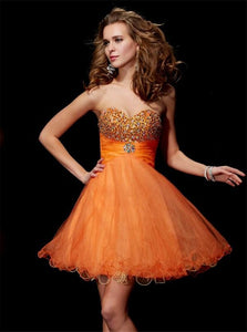 A Line Beadings Strapless Short Organza Lace Up Homecoming Dresses