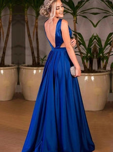 A Line V Neck Pleated Royal Blue Satin Sweep Train Prom Dresses