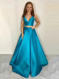 Two Piece Sexy Blue Spaghetti Straps Deep V Neck Satin Prom Dress with Pleats