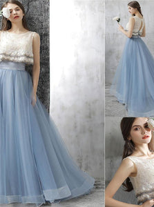 A Line Lace Sky Blue Open Back Applique Tulle Prom Dresses