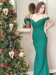 Green Sheath Off the Shoulder Sweep Train Stretch Satin Prom Dresses
