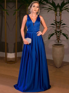 A Line V Neck Pleated Royal Blue Open Back Satin Prom Dresses