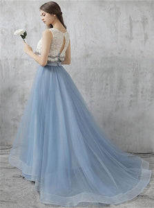 Lace Sky Blue Open Back Applique Scoop Prom Dresses with Floor Length