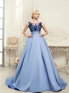 Mermaid Tulle Scoop Appliques Prom Dresses With Sweep Train Detachable