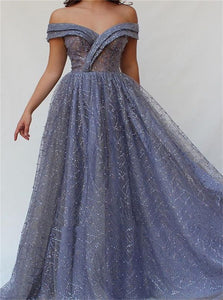 Floor Length Short Sleeves Sequins Prom Dresses
