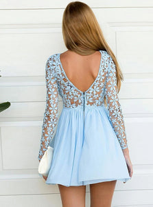 Open Back Blue Bateau Chiffon Homecoming Dress with Lace Long Sleeves