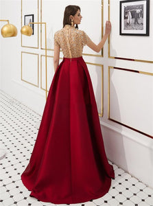 A Line Satin High Neck Sweep Train Prom Dresses