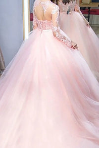 Pink Ball Gown Jewel Long Sleeves Lace Tulle Lace Up Prom Dresses LBQ0055