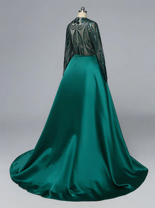 Chic Appliqued Sheath Evening Dress with Overskirt and Long Sleeve