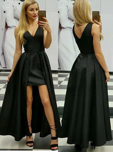 A Line V Neck Asymmetrical Black Satin Open Back Prom Dresses with Pleats