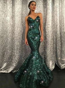 Green Mermaid Sweetheart Sequined Prom Dresses with Sweep Train