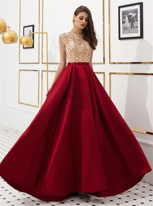 A Line Satin High Neck Beadings 1/4 Sleeves Red Prom Dresses