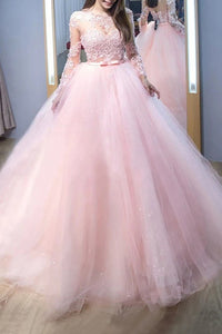 Elegant Pink Ball Gown Jewel Long Sleeves Lace Tulle Evening Dresses LBQ0055