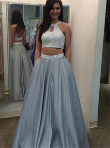 Two Pieces Satin Halter Backless Beaded Floor Length Prom Dress