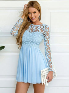 A Line Blue Bateau Chiffon Homecoming Dress with Lace Long Sleeves