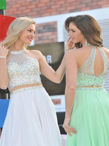 A Line Rhinestones Chiffon Scoop Prom Dresses with Sweep Train LBQ0275