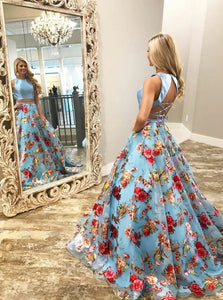 Two Piece A Line Floral Blue Round Neck Lace Up Back Satin Floor Length Prom Dress LBQ0020
