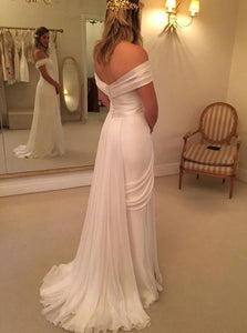 A Line Sweep Train Off the Shoulder Pleats Chiffon Wedding Dresses