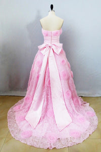 Modern Pink Ball Gown Lace Sweetheart Bow Knot Prom Dress