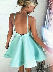 Sexy A Line V Neck Mint Green Short Satin Homecoming Dress