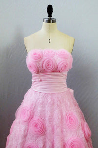 Cute Pink Ball Gown Lace Sweetheart Bow Knot Prom Dress