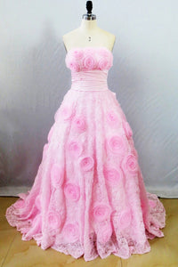 Lovely Pink Ball Gown Lace Sweetheart Bow Knot Prom Dress